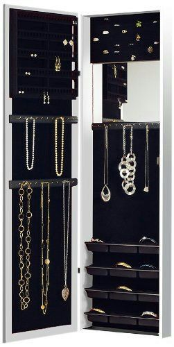 Broken Mirror New Jewelry Armoire Organizer Over Door Wall Hang 47x14x3.5 inches #NewView