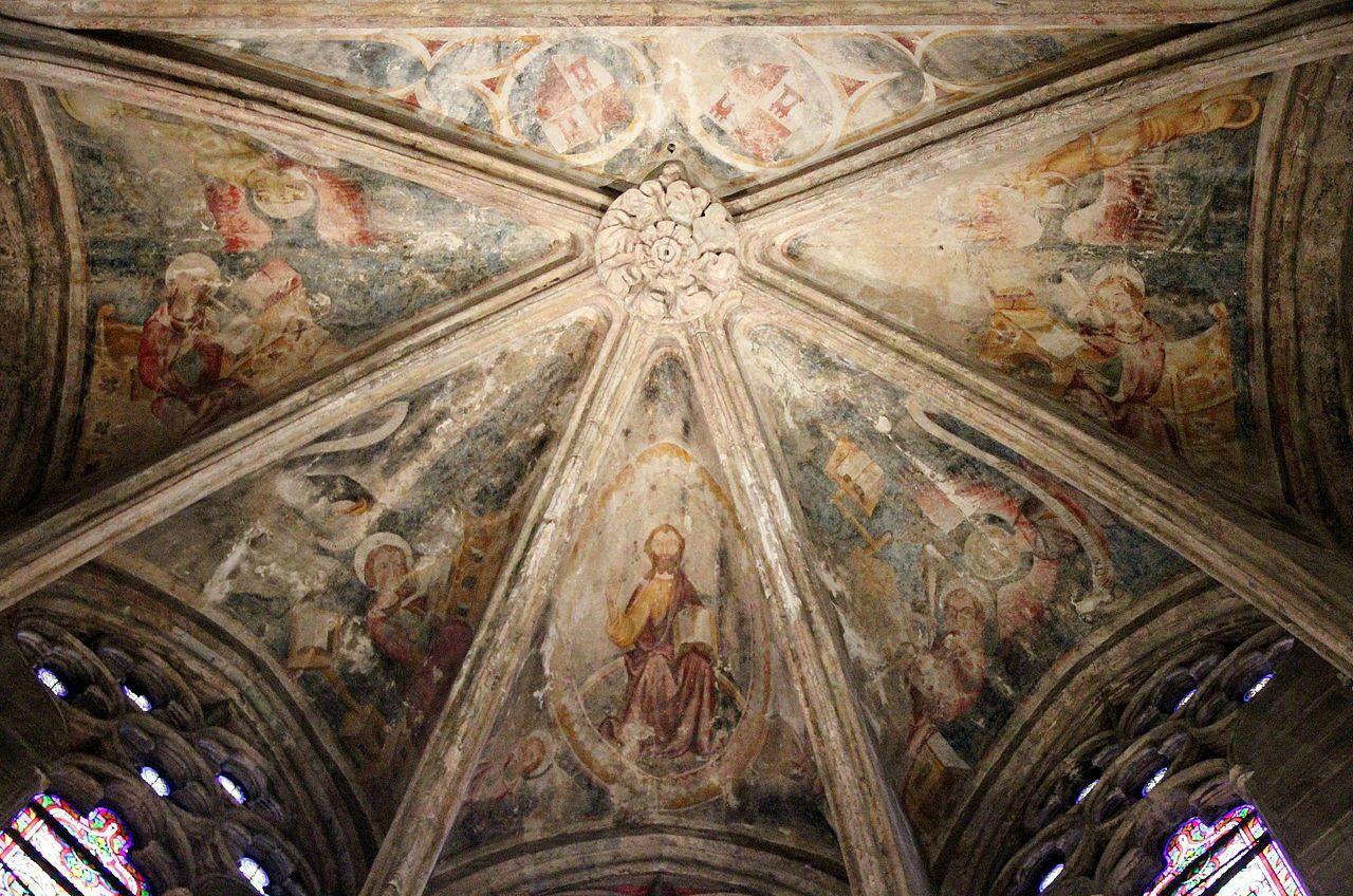 Plafond D Une Chapelle De La Cathedrale Xve Siecle Cathedrale Notre Dame De Rodez Wikipedia Cathedrale Peinture Murale Les Arts
