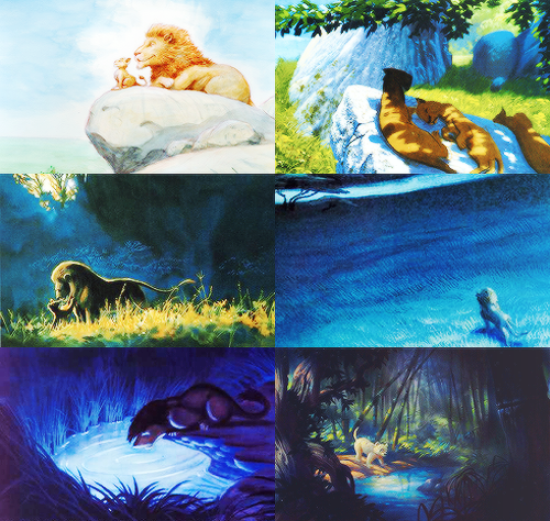 The Lion King concept art - 1994 - I love those lions lazing in the sun and shade. :)