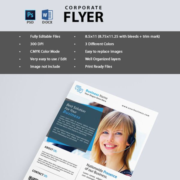 Corporate Business Flyer  Corporate Identity Template is part of Business flyer, Flyer, Corporate business, Corporate identity, Web design company, Web layout design -  Corporate Flyer Template is for Business Companies  This template can also be used for a magazine advertisement or used as an online flyer as a