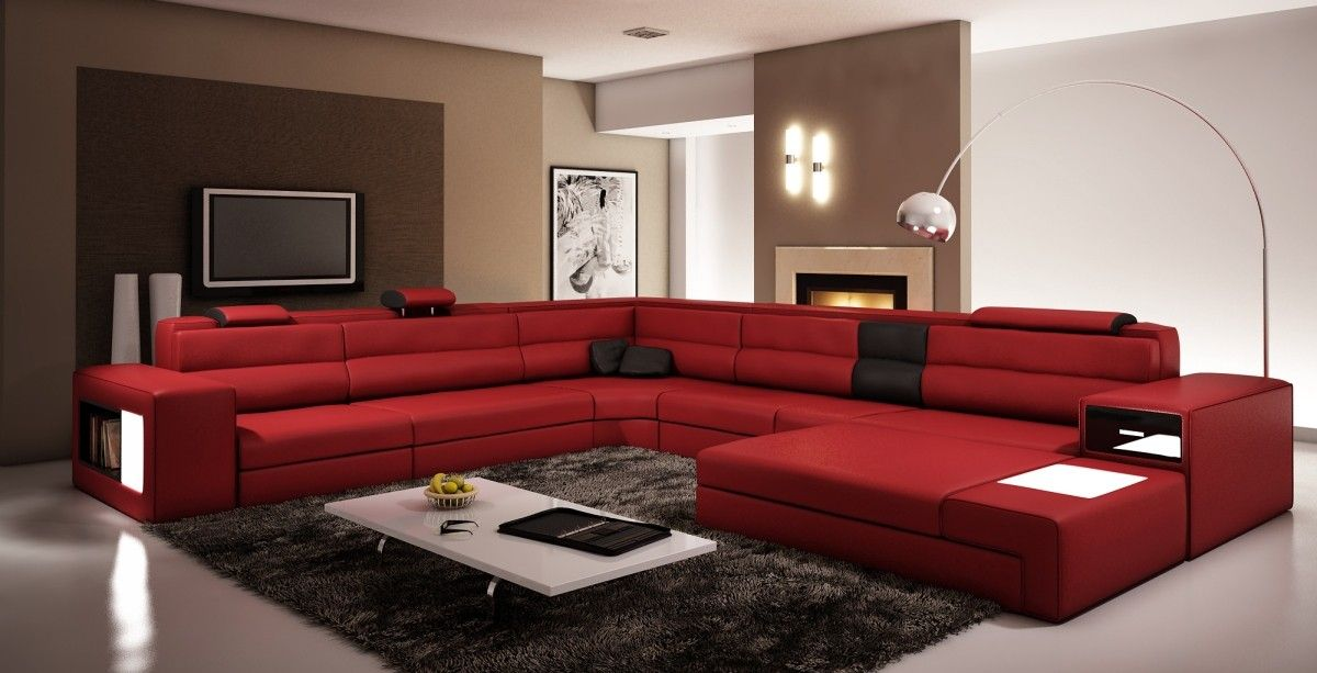 Polaris Dark Red Bonded Leather Sectional Sofa Red Couch Living