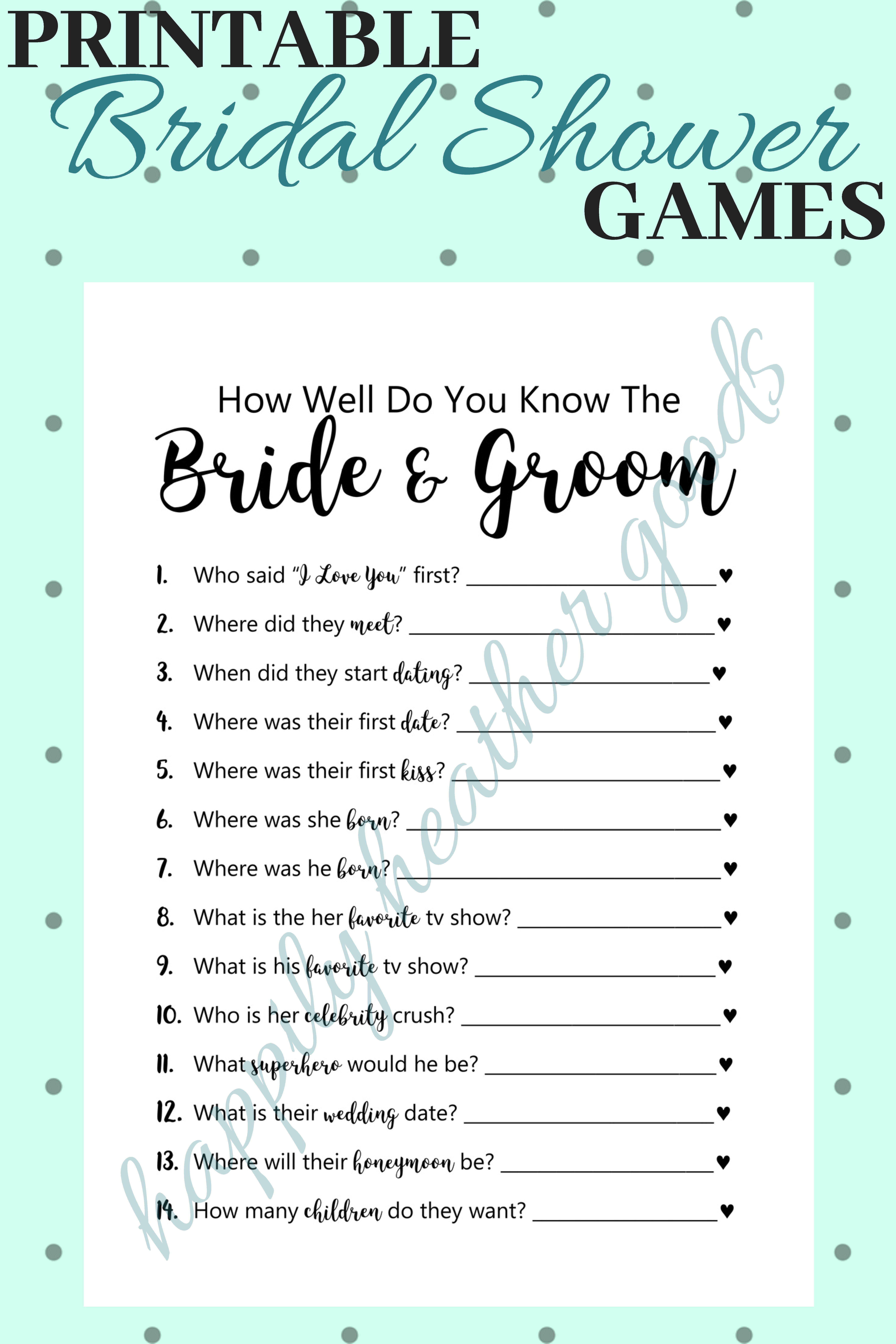 How Well Do You Know Couple Questions Game, Bridal Shower