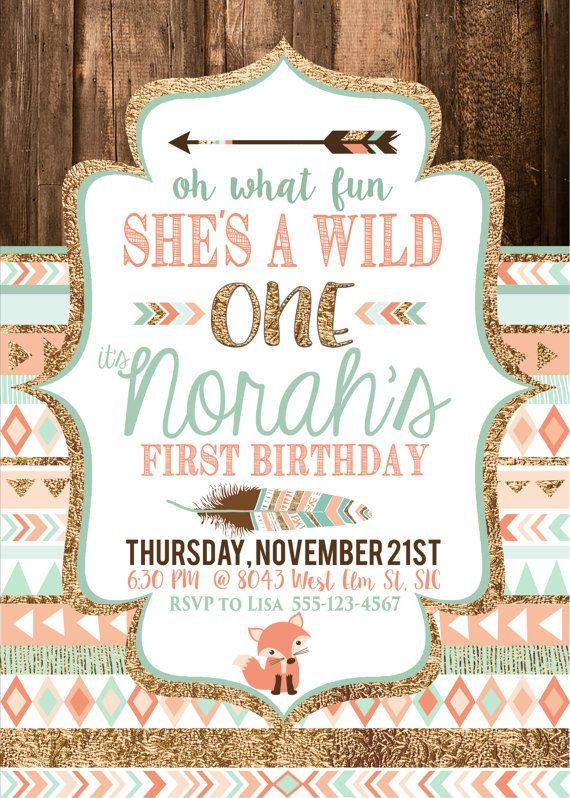 Tribal Wild One Party Invite Birthday by CassiaLeighDesigns girl - first birthday invitations templates
