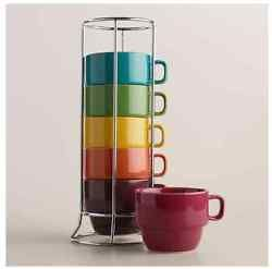 New Colored Stoneware Stackable Coffee Mugs Tea Cups Set Of 6 With Metal Rack