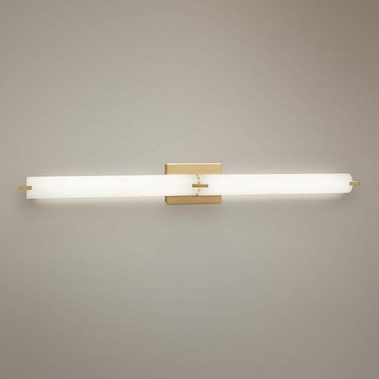 George Kovacs Tube 39 1 2 Wide Gold 2 Light Led Bath Light 56j86 Lamps Plus Bath Light Led Lights Lamps Plus