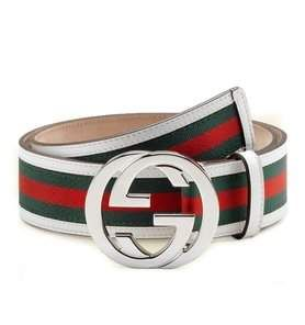 7dd276794f3 Gucci Interlocking G Belt Stripes White Green Red in 2019
