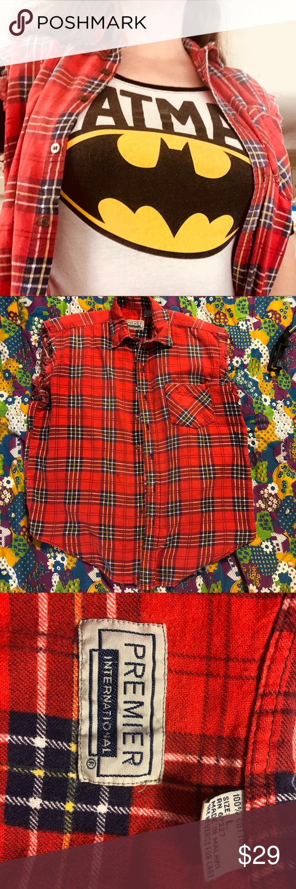 Flannel into dress  Authentic s grunge flannel sleeveless shirt vest  My Posh Closet