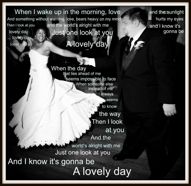 First dance photo with song lyrics