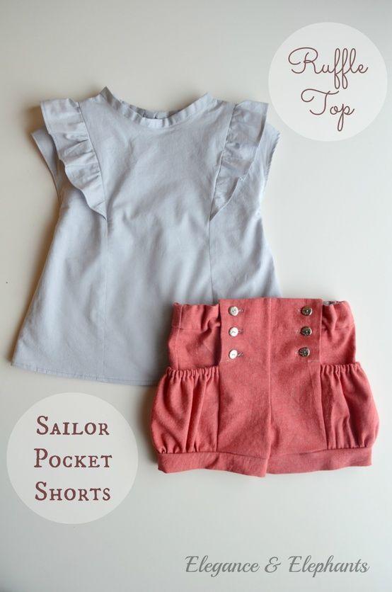Elegance & Elephants: Ruffle Top and Sailor Pocket Shorts.