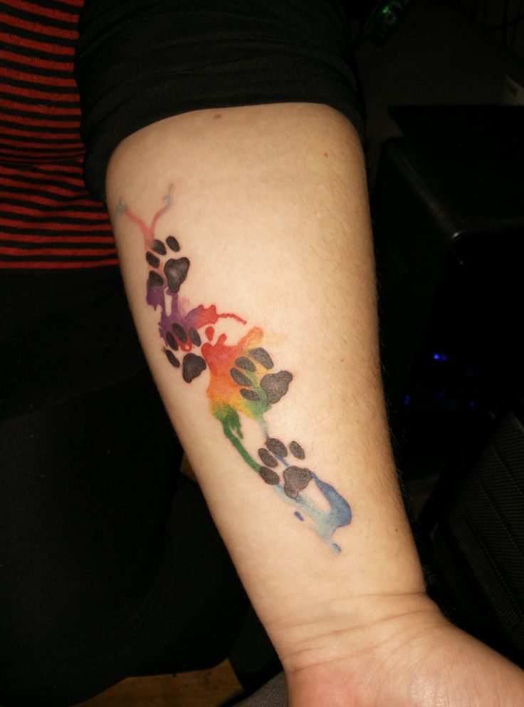 Paw Print Tattoo On Bottom Of Foot: Abstract Watercolour Pawprint