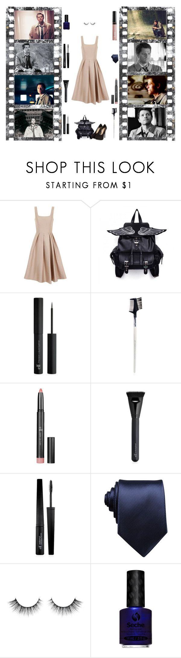 """""""Castiel the Winged"""" by slytherin-archangel ❤ liked on Polyvore featuring Chi Chi, e.l.f., Perry Ellis, Seche and Butter London"""