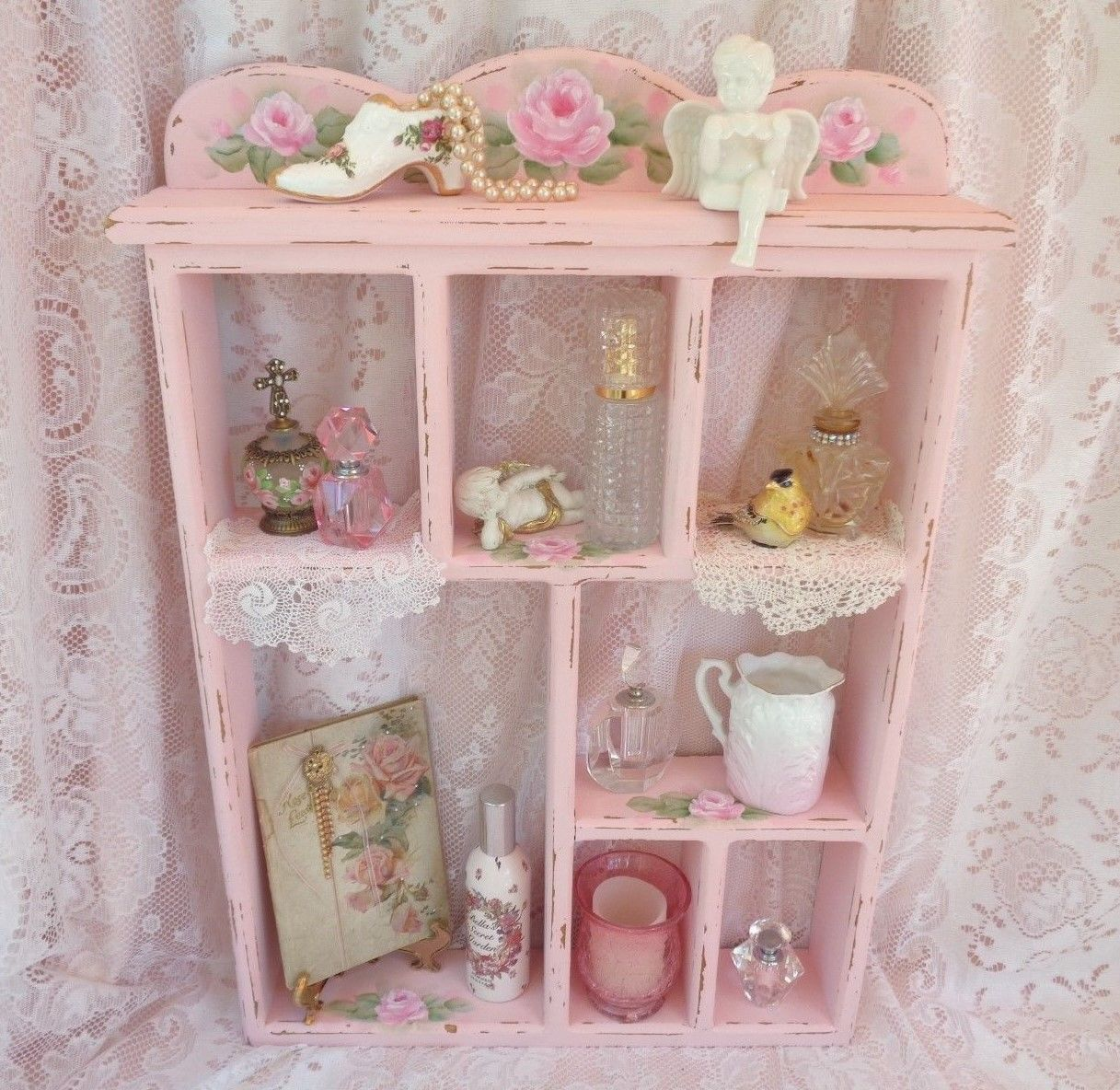 Romantic Pink Wall Shelf Hp Rose Chic Shabby Vintage Cottage Hand