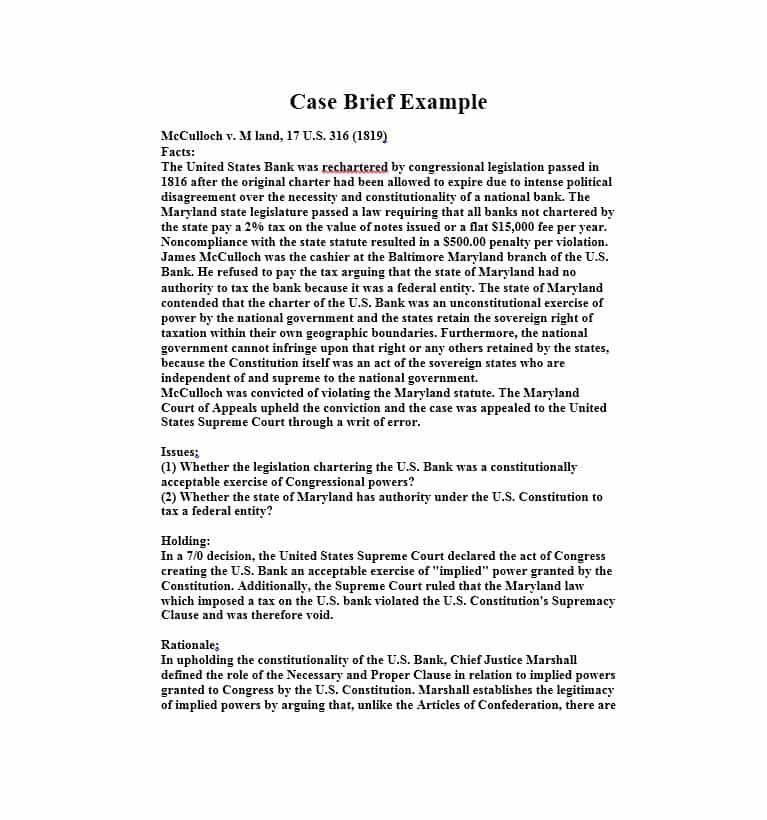 40 Case Brief Examples Templates ᐅ Brief Business Mentor