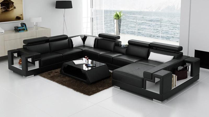 Living Room Furniture U Shaped Leather Sofa Black Furniture Living Room Modern Sofa Sectional Red Leather Sofa