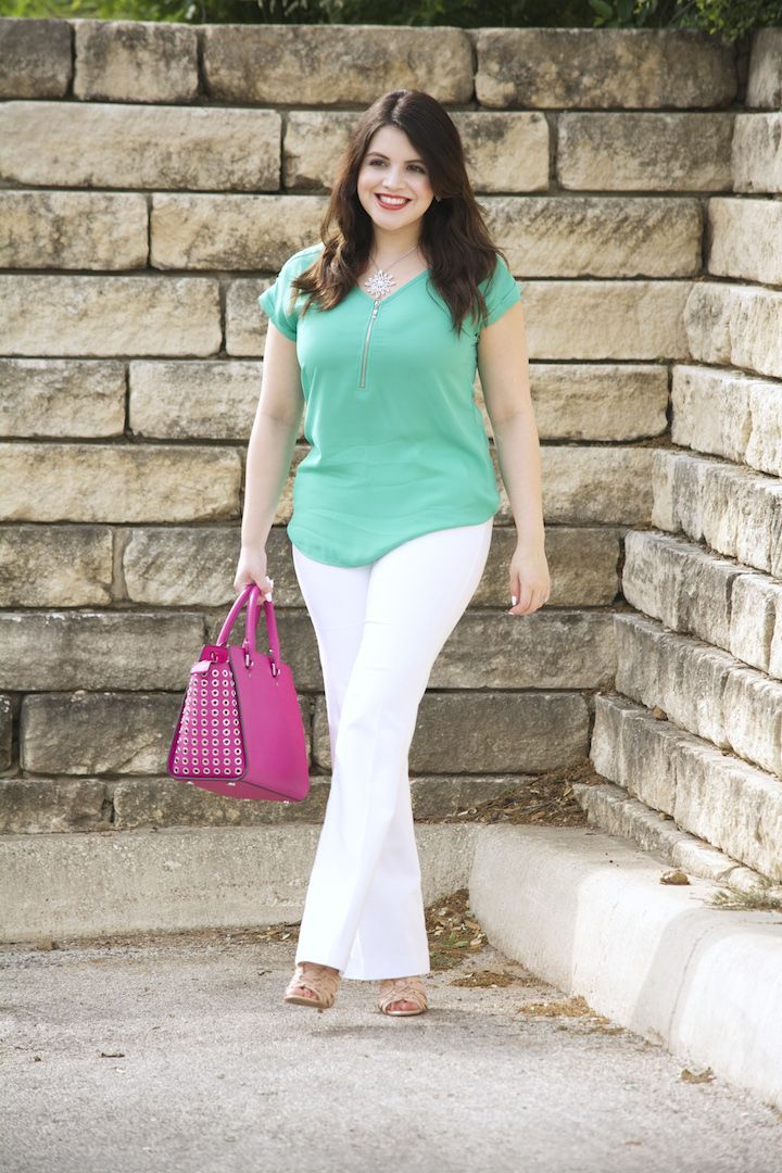 636413c435a Turquoise Top   White Pants