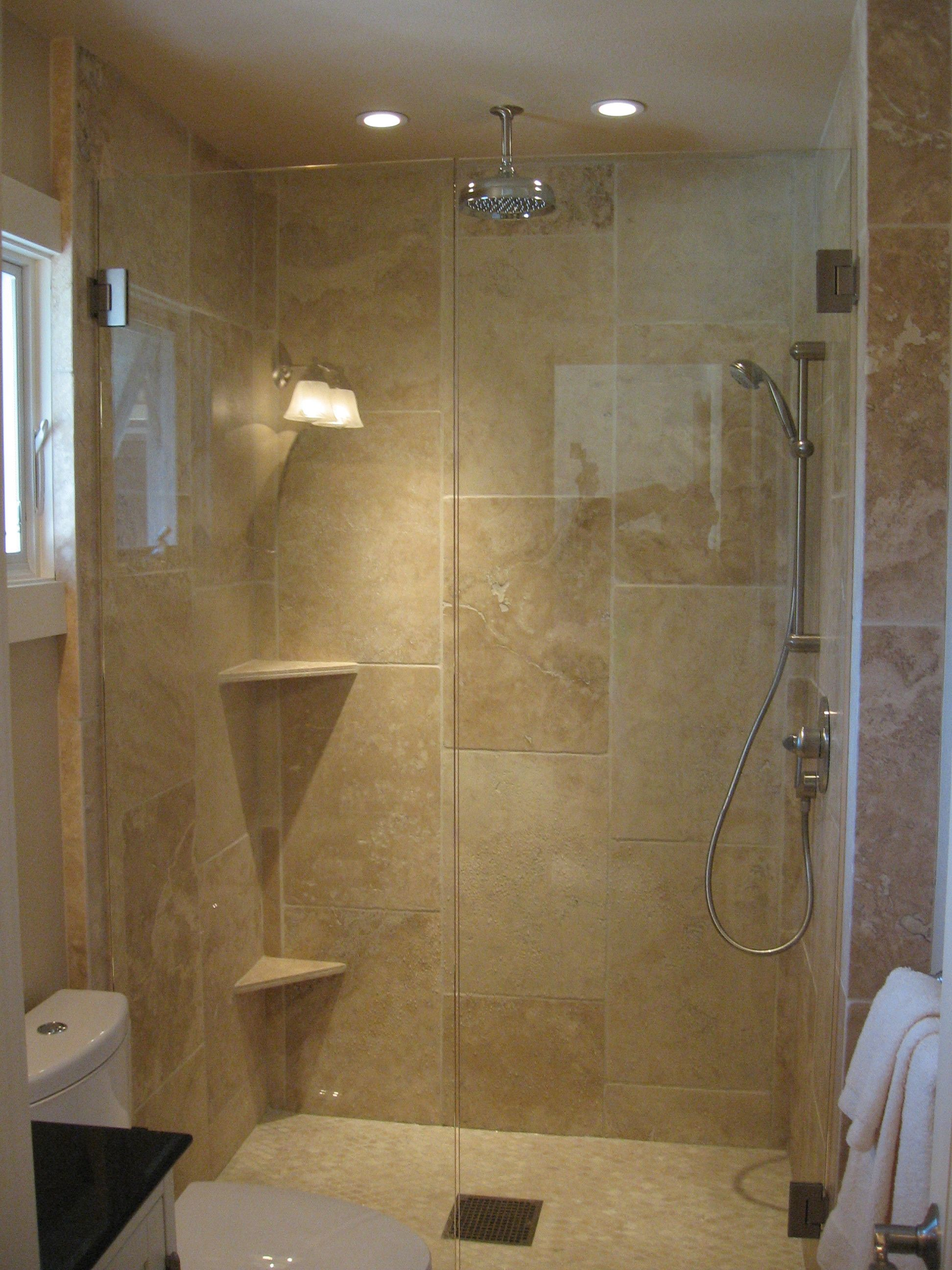 Merveilleux Watsonville Bathroom Remodel Project. Large Tumbled Travertine Tiles  Arranged In Waterfall Pattern. Ceiling Mount Shower Head, Frameless Glass  Shower Doors.