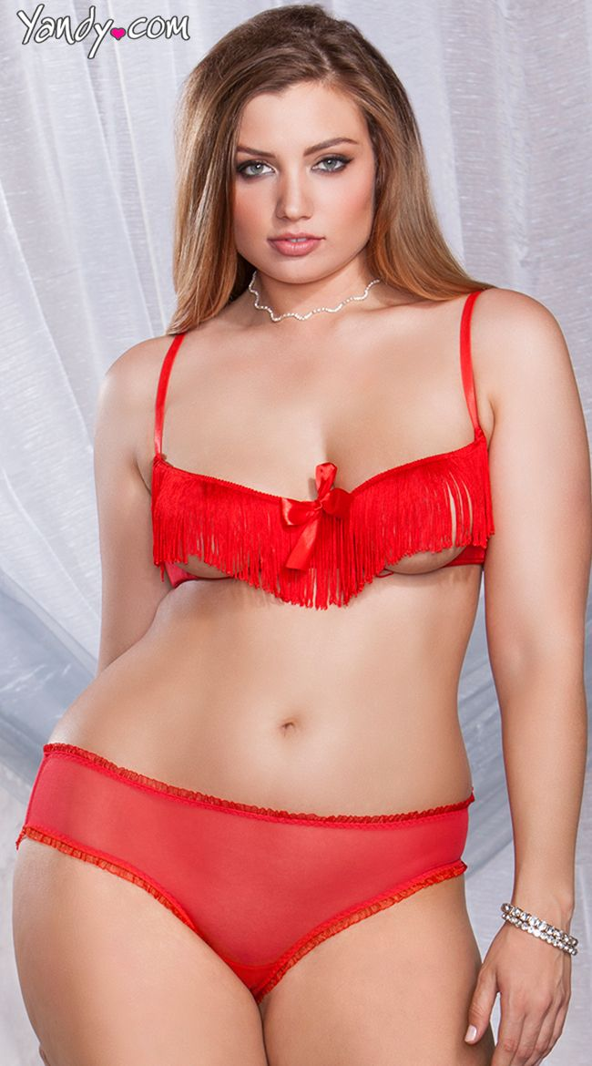 ae5df9a84e Plus Size Fringe Cupless Bra and Crotchless Boyshort