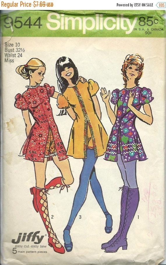 ON SALE 1970s Simplicity 9544 Misses Jiffy by DawnsDesignBoutique
