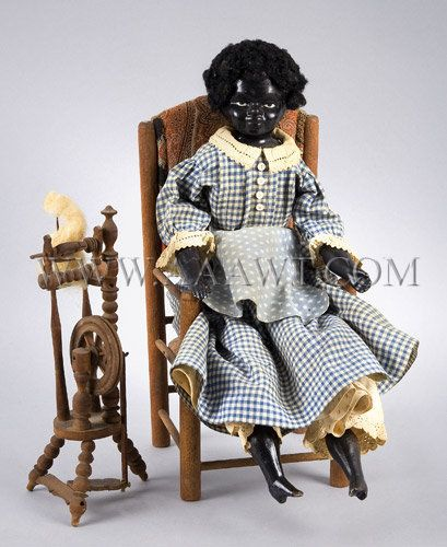 Antique Doll, African American Girl, With Spinning Wheel, entire view - Frican-American Girl Doll Porcelain, With Chair And Spinning Wheel