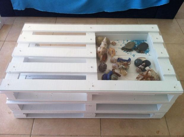 Table Basse Style Bord De Mer Diy Palette Tutoriel Salon En