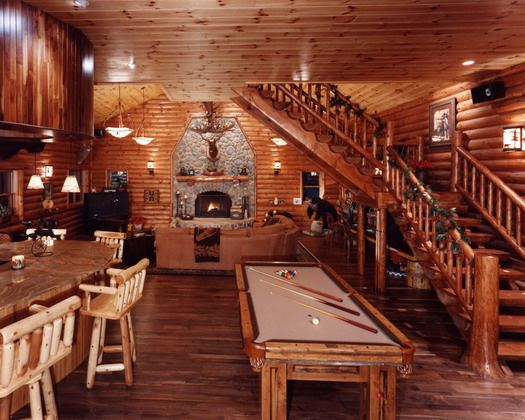 log cabin interiors log cabin home kirtland ohio interior view of game - Log Cabin Living Room
