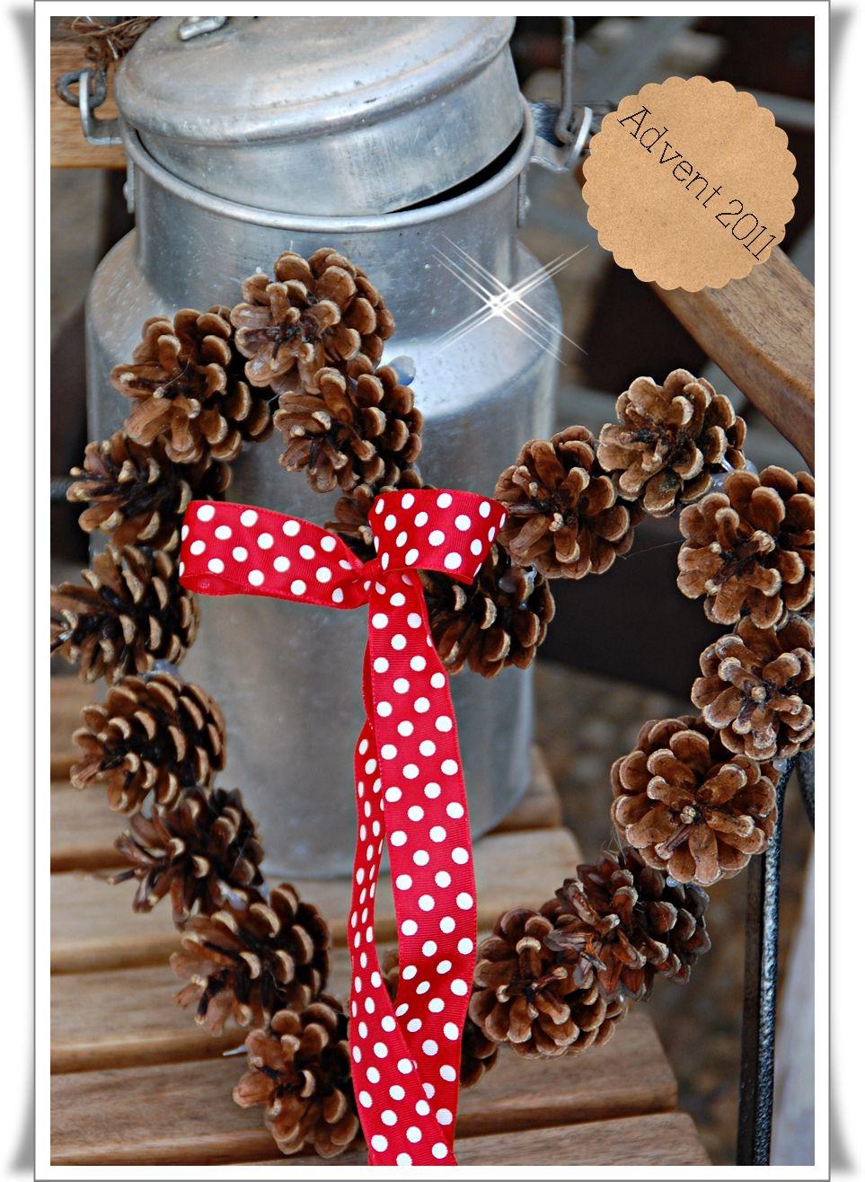 adventsdeko 2011 wohnen und garten foto weihnachtsdeko pinterest pinecone wreaths and. Black Bedroom Furniture Sets. Home Design Ideas
