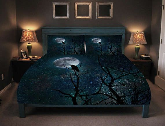 Night Raven Gothic Comforter Duvet Cover Pillow Shams Duvet