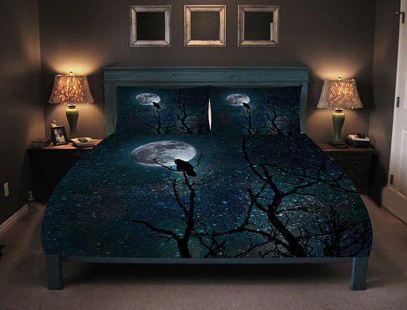 Night Raven Gothic Comforter Duvet Cover Pillow Shams Etsy Luxury Bedding Sets Bedding Sets Duvet Covers