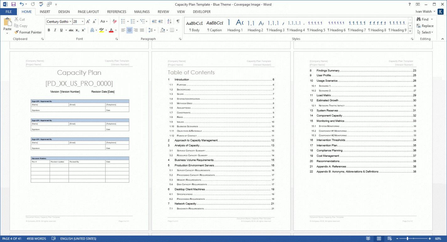 Free Capacity Plan Template Ms Word Templates Forms Checklists For