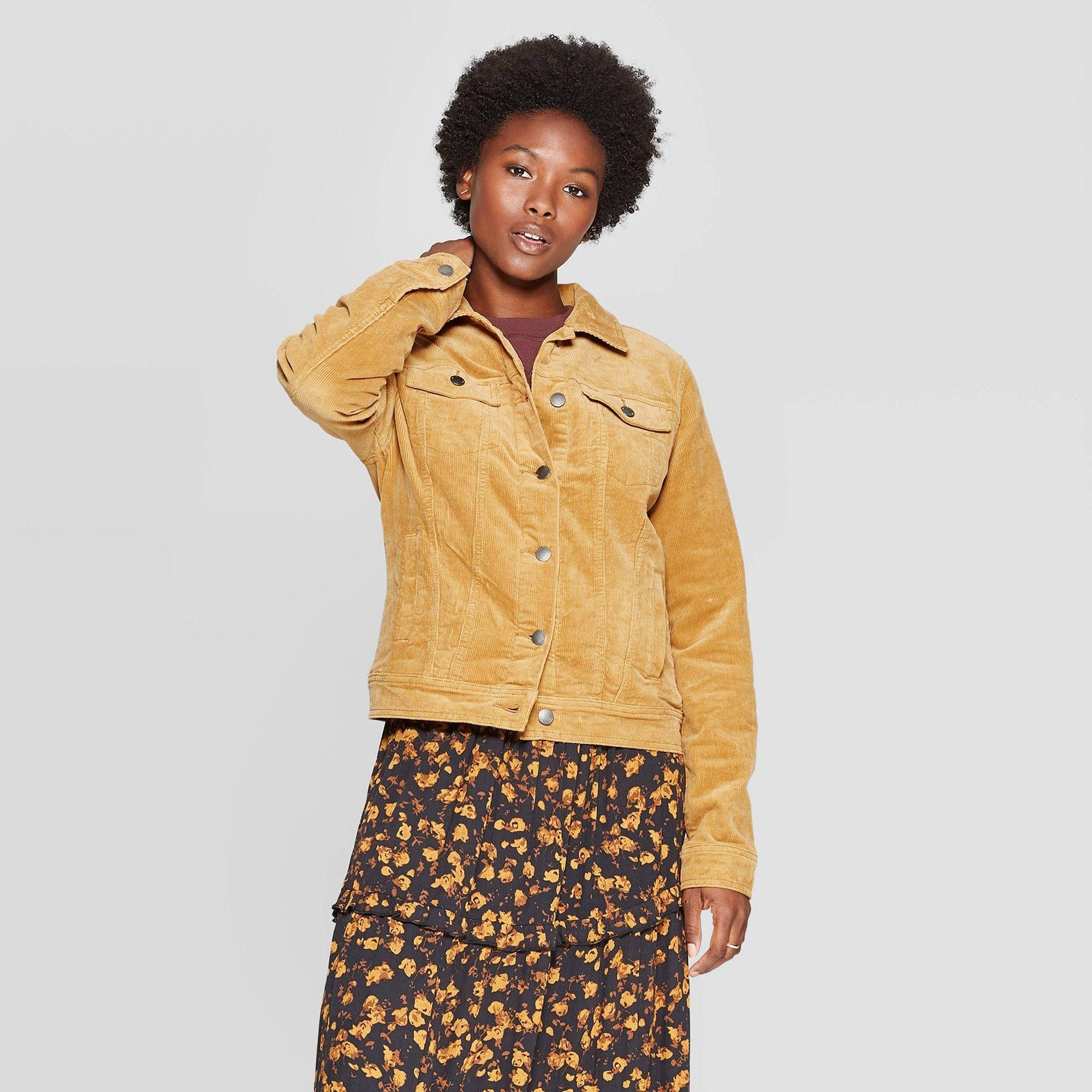 Women's Corduroy Jeans Jacket Universal Thread Gold M