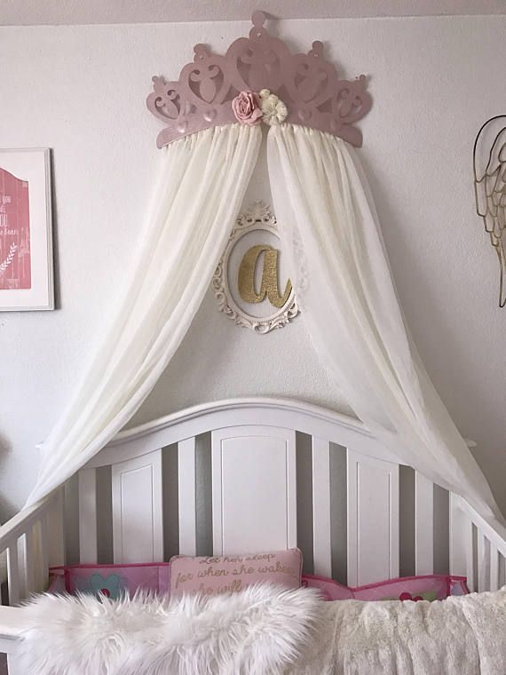 Rose Flower Design Baby Nursery Kids Bedroom Wooden: 3D Princess Diamond And Rose Gold Flower QueenCrown Canopy