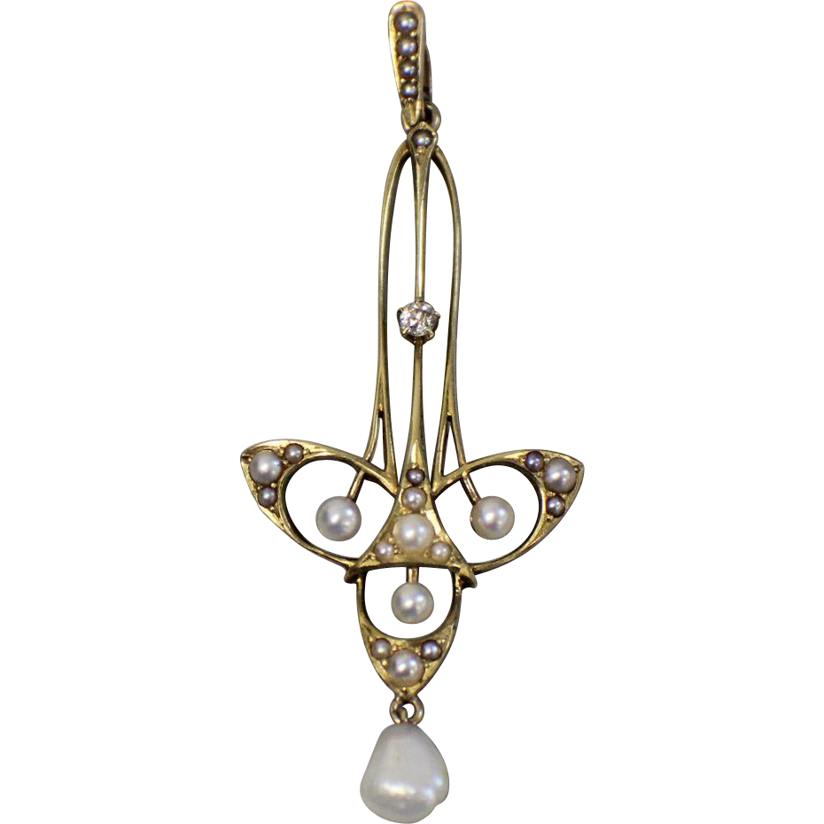 14kt Yellow Gold Upside Down Cross Pendant With Pearls And 07ctw Diamond Art Nouveau Jewelry Adornment Jewelry Deco Jewelry