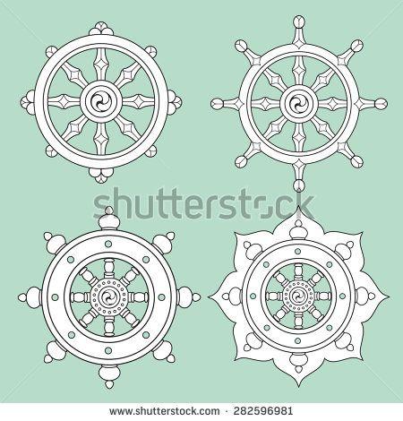 Stock Vector Dharma Wheel Dharmachakra Icons Buddhism Symbols