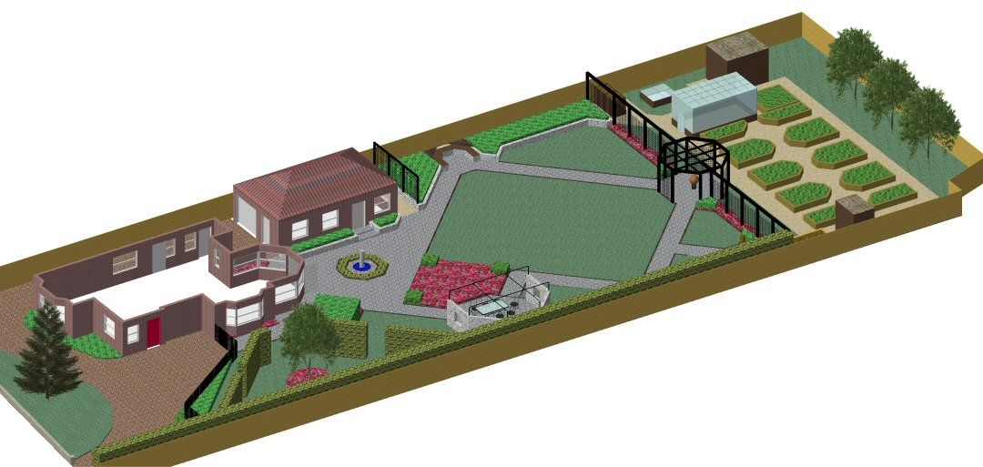 cad model of garden design plan for large garden in gerrards cross buckinghamshire designed