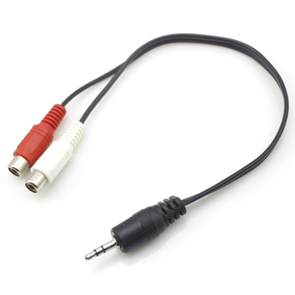 3.5mm 1 Female to 2 Dual RCA Male Y Splitter Audio Stereo Aux Cable Adapter