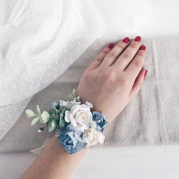 Flower wrist corsage, Blue bridesmaids corsage, bridal wrist corsage, weddings, Wedding bouquet
