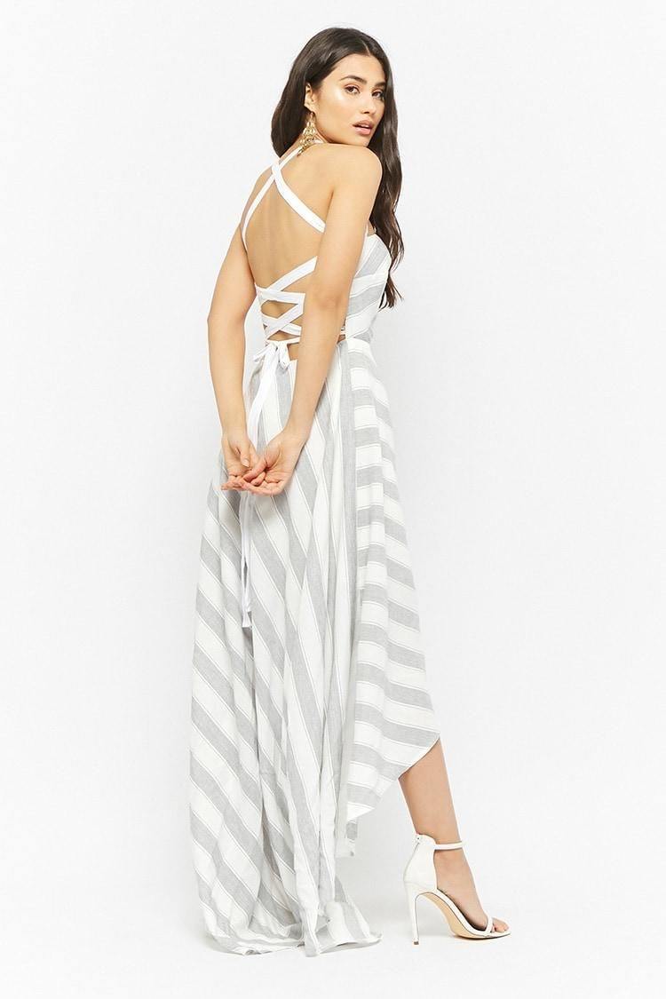 Striped laceup back highlow dress usd forever new