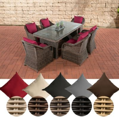 Polyrattan Essgruppe LAVELLO, 6 Sessel inkl Polster + Tisch 180 x - gartenmobel selber bauen anleitung
