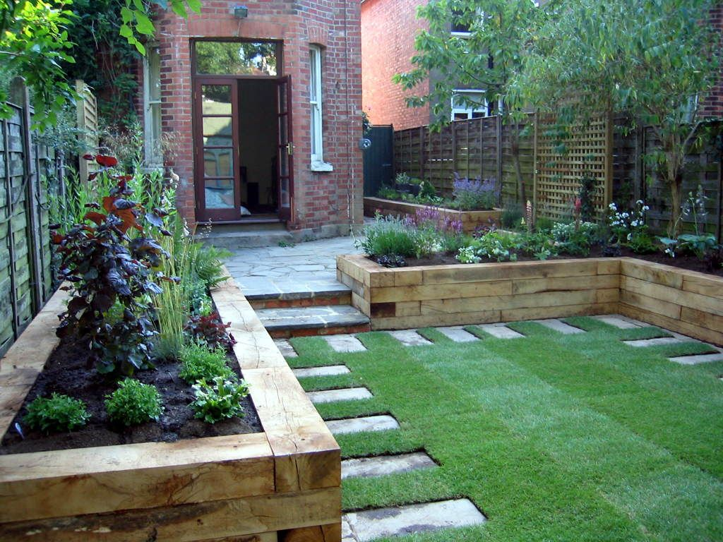 Raised patio & sleeper beds Small garden design, Garden