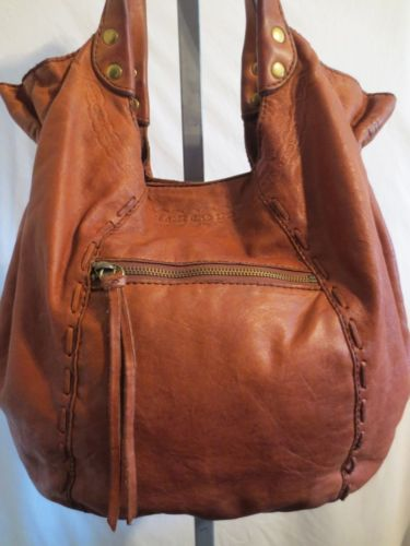 Lucky Brand Lrg Cognac Brown Tooled Leather Boho Slouchy Hobo Shoulder Handbag