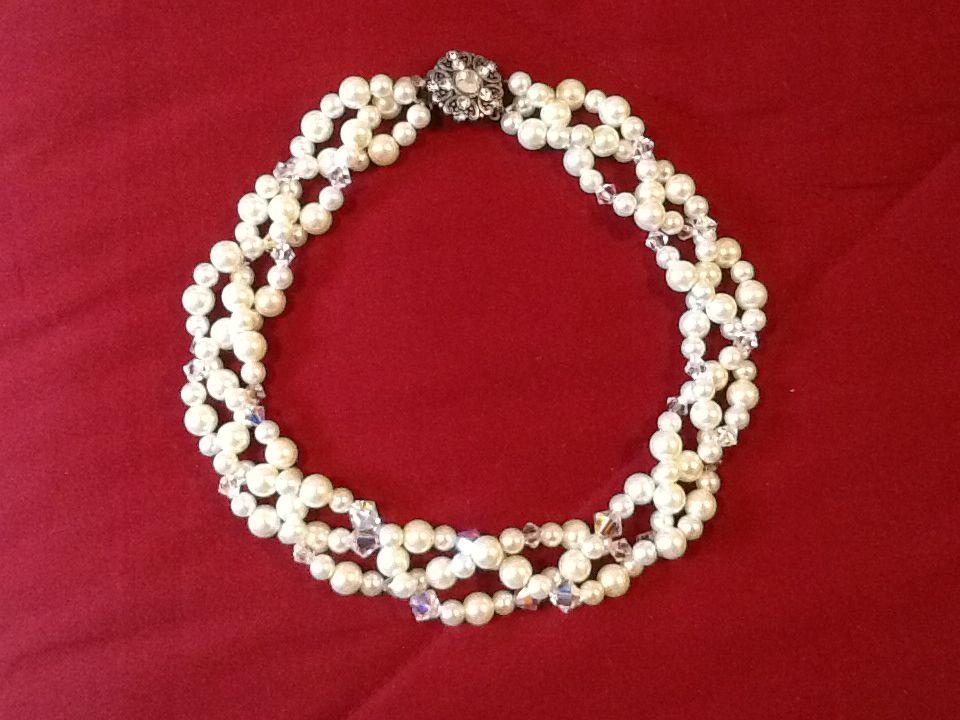 DIY wedding jewelry Glass pearls interspersed with Swarovski bicone