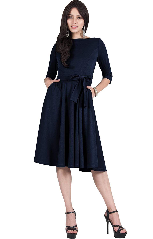 Viris Zamara Womens 3 4 Sleeve Boat Neck With Belt Modest Elegant Semi Formal Pockets Work Cute Pleated Flowy Office Midi Dress Fall Modest Dresses Dress Quest [ 1500 x 960 Pixel ]