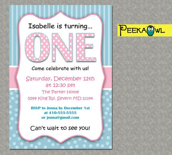 Printable 1st Birthday Invitations One Year By PeekaOwl