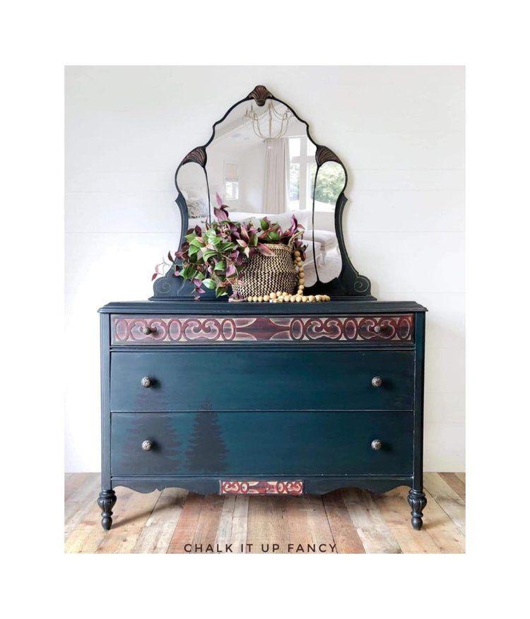 Vintage Dresser Dresser With Mirror Pine Trees Handpainted Woodland Rustic Silhouette Adirondack Green Red Dresser With Mirror Vintage Dressers Shabby Chic Dresser
