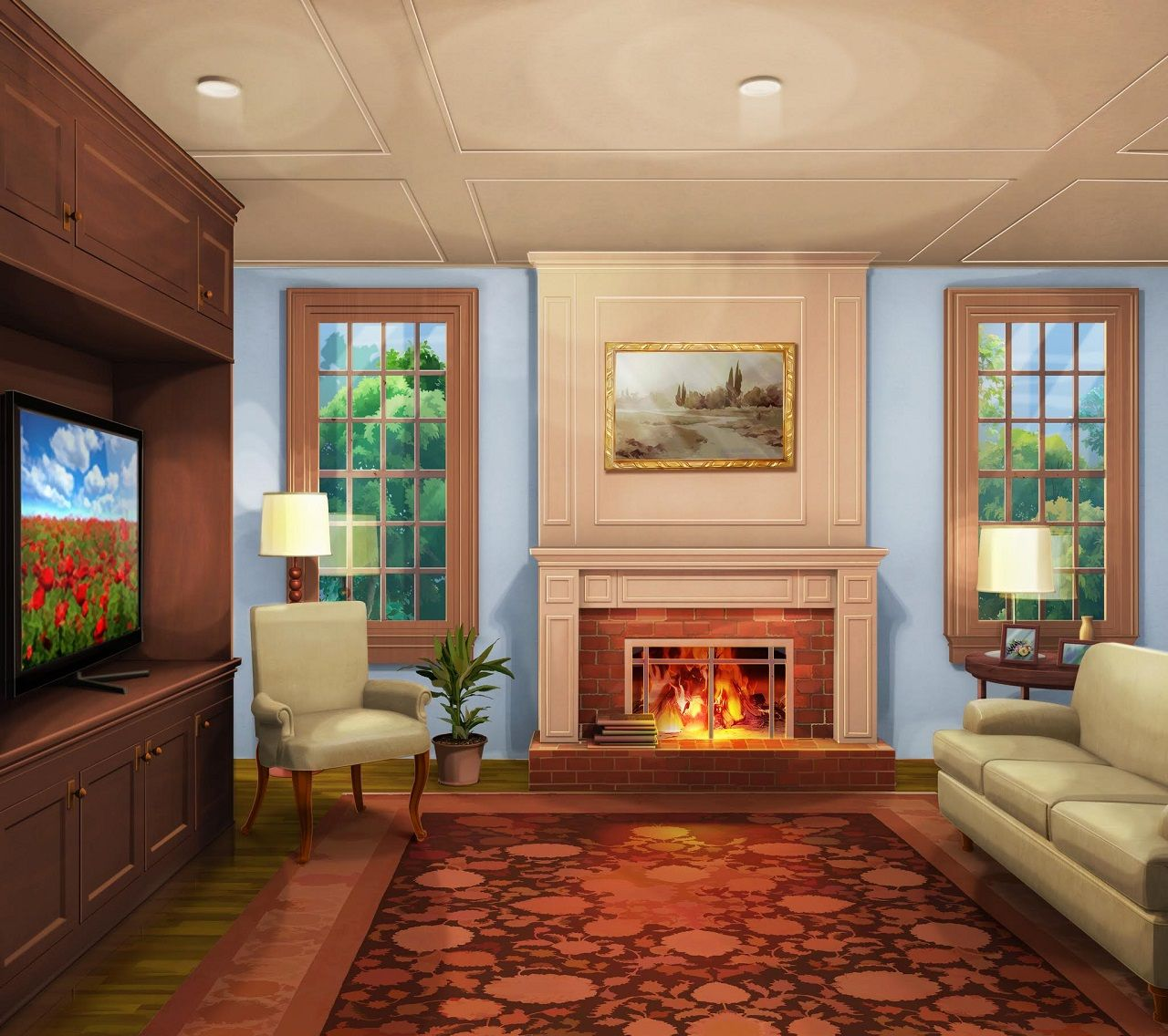 Room Background Int. Classic Livingroom Day Med #episodeinteractive #