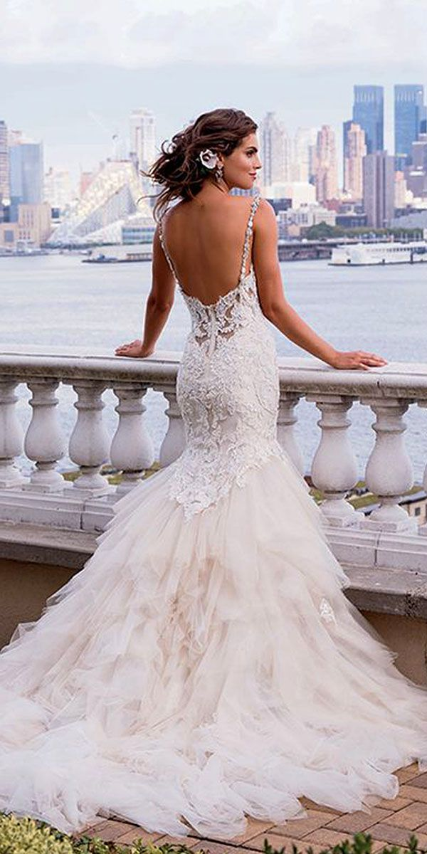Feather Top Mermaid Wedding Dress