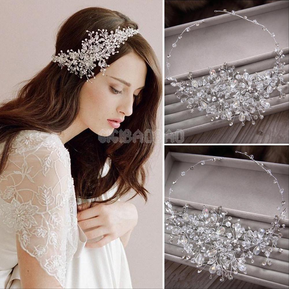 wedding bridal crystal rhinestone party headband tiara clear hair