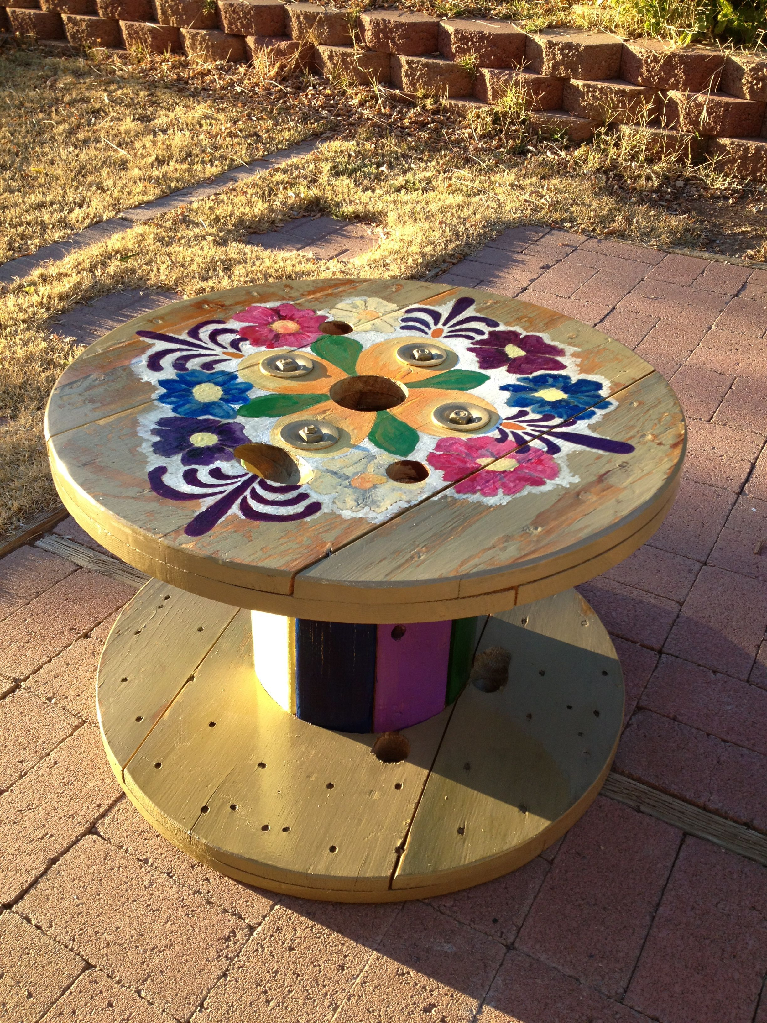 """Mexican flowers hand painted cable """"spools"""" table for outside"""