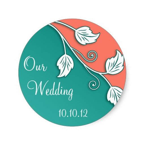 Turquoise Coral Vine Wedding Stickers | Zazzle.com #turquoisecoralweddings