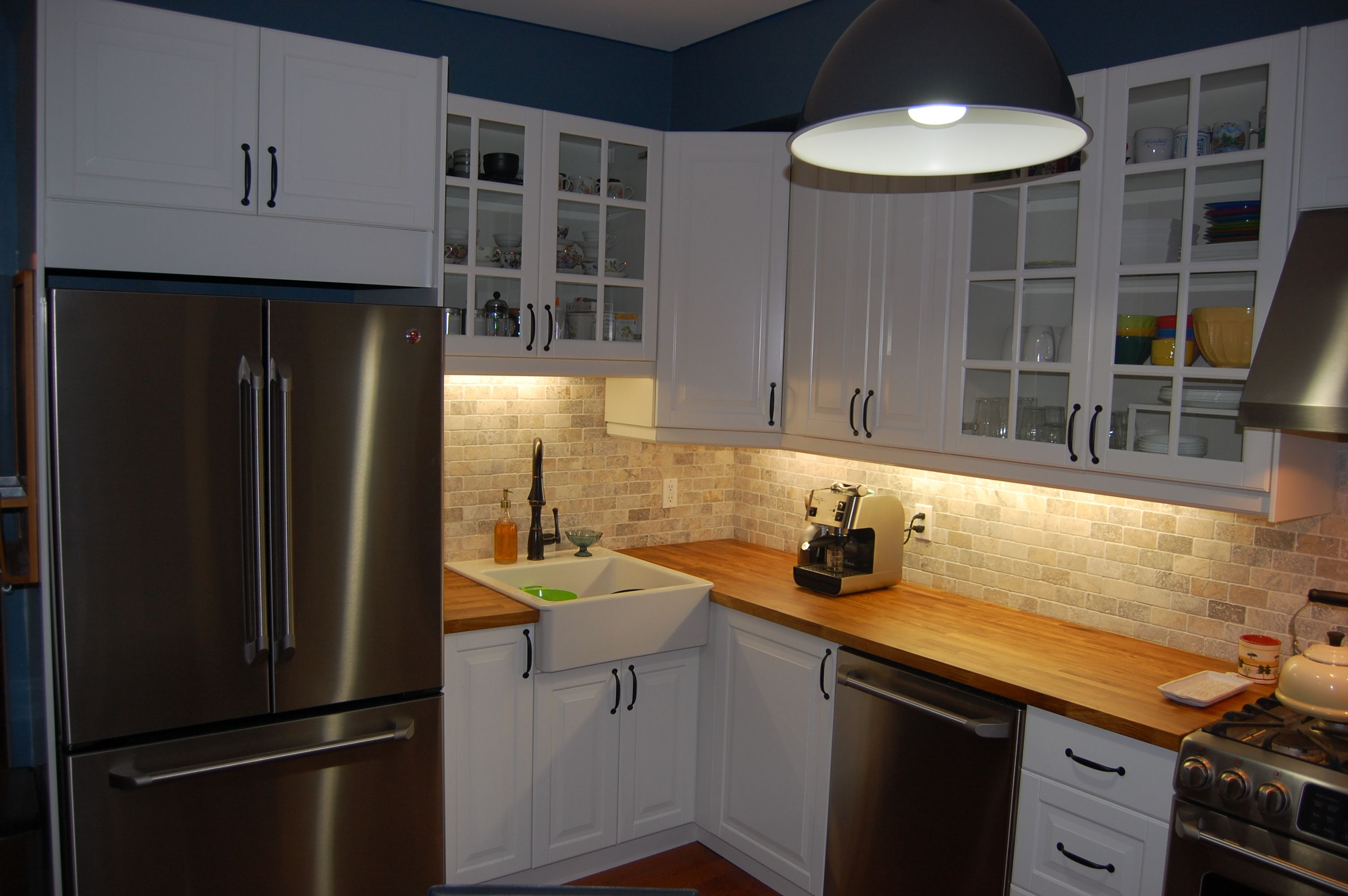 Kitchen   White Ikea Cabinets, Butcher Block Counter, Tumbled Stone  Backsplash